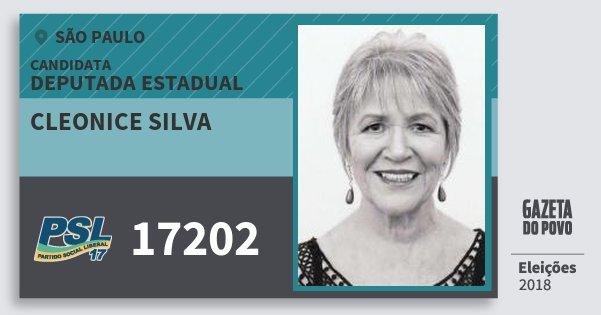 Santinho Cleonice Silva 17202 (PSL) Deputada Estadual | São Paulo | Eleições 2018
