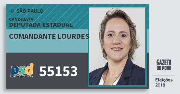 Santinho Comandante Lourdes 55153 (PSD) Deputada Estadual   São Paulo   Eleições 2018