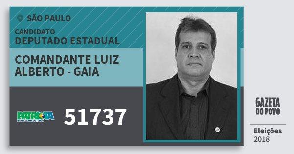 Santinho Comandante Luiz Alberto - Gaia 51737 (PATRI) Deputado Estadual | São Paulo | Eleições 2018