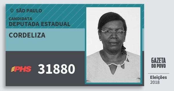Santinho Cordeliza 31880 (PHS) Deputada Estadual | São Paulo | Eleições 2018