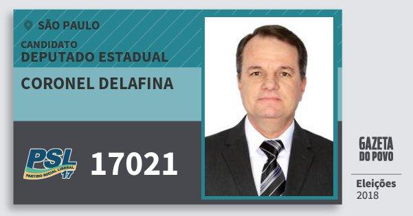 Santinho Coronel Delafina 17021 (PSL) Deputado Estadual | São Paulo | Eleições 2018