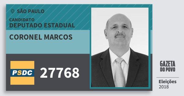 Santinho Coronel Marcos 27768 (DC) Deputado Estadual | São Paulo | Eleições 2018