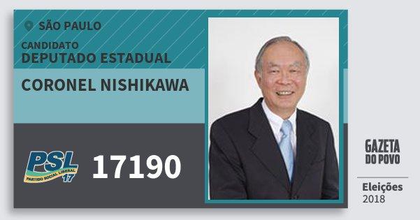 Santinho Coronel Nishikawa 17190 (PSL) Deputado Estadual | São Paulo | Eleições 2018