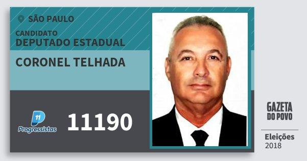 Santinho Coronel Telhada 11190 (PP) Deputado Estadual | São Paulo | Eleições 2018