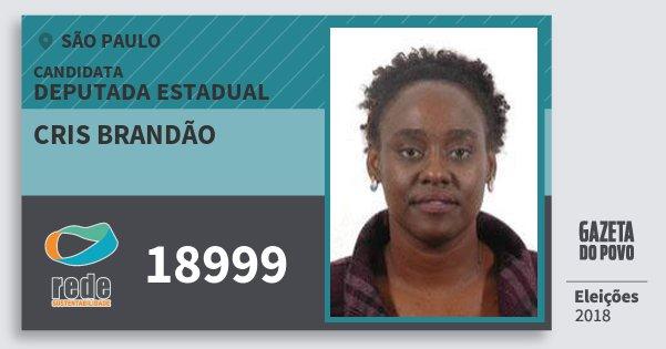 Santinho Cris Brandão 18999 (REDE) Deputada Estadual | São Paulo | Eleições 2018