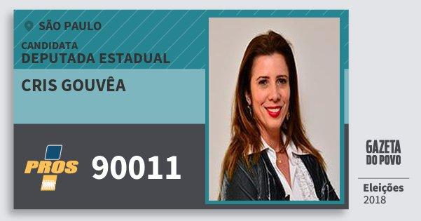 Santinho Cris Gouvêa 90011 (PROS) Deputada Estadual | São Paulo | Eleições 2018