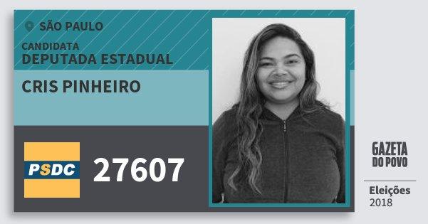 Santinho Cris Pinheiro 27607 (DC) Deputada Estadual | São Paulo | Eleições 2018