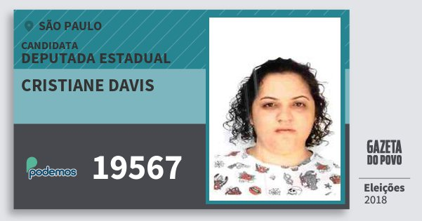Santinho Cristiane Davis 19567 (PODE) Deputada Estadual | São Paulo | Eleições 2018
