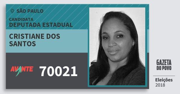 Santinho Cristiane dos Santos 70021 (AVANTE) Deputada Estadual | São Paulo | Eleições 2018