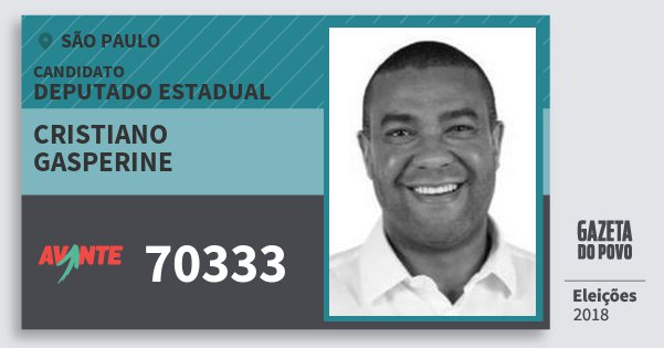 Santinho Cristiano Gasperine 70333 (AVANTE) Deputado Estadual | São Paulo | Eleições 2018