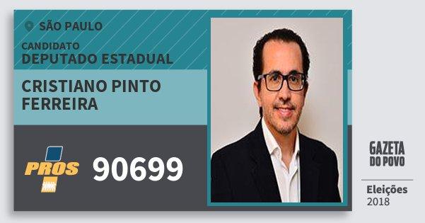 Santinho Cristiano Pinto Ferreira 90699 (PROS) Deputado Estadual | São Paulo | Eleições 2018