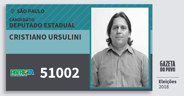 Santinho Cristiano Ursulini 51002 (PATRI) Deputado Estadual | São Paulo | Eleições 2018
