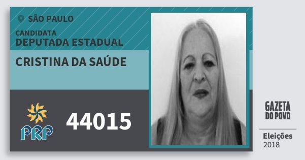 Santinho Cristina da Saúde 44015 (PRP) Deputada Estadual | São Paulo | Eleições 2018