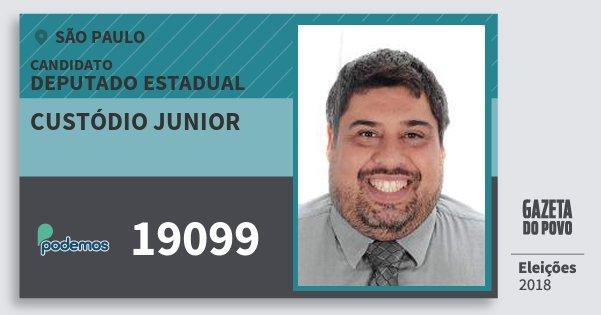 Santinho Custódio Junior 19099 (PODE) Deputado Estadual | São Paulo | Eleições 2018