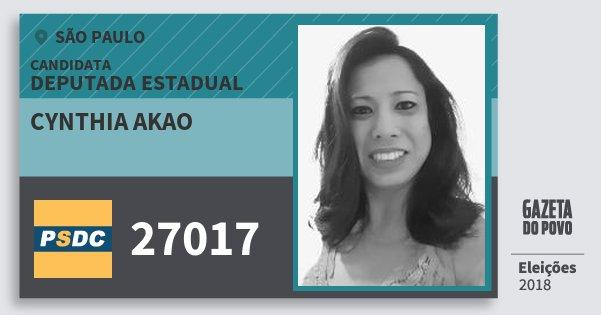 Santinho Cynthia Akao 27017 (DC) Deputada Estadual | São Paulo | Eleições 2018