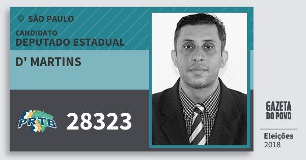 Santinho d' Martins 28323 (PRTB) Deputado Estadual | São Paulo | Eleições 2018