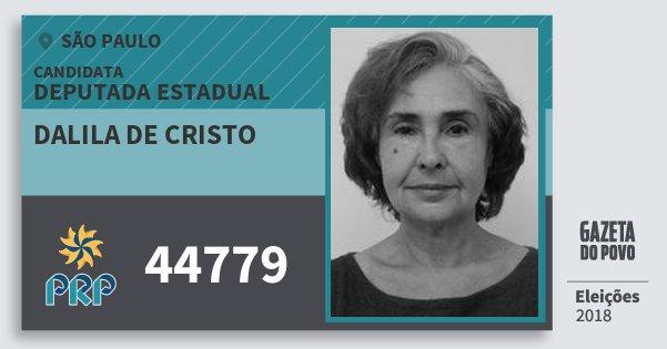 Santinho Dalila de Cristo 44779 (PRP) Deputada Estadual | São Paulo | Eleições 2018