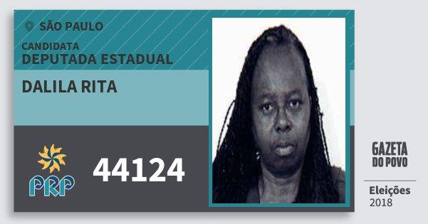 Santinho Dalila Rita 44124 (PRP) Deputada Estadual | São Paulo | Eleições 2018