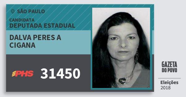 Santinho Dalva Peres A Cigana 31450 (PHS) Deputada Estadual | São Paulo | Eleições 2018