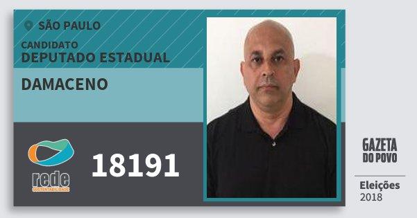 Santinho Damaceno 18191 (REDE) Deputado Estadual | São Paulo | Eleições 2018