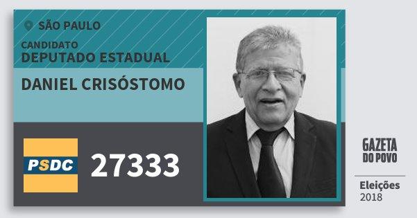 Santinho Daniel Crisóstomo 27333 (DC) Deputado Estadual | São Paulo | Eleições 2018