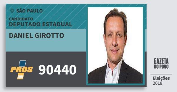 Santinho Daniel Girotto 90440 (PROS) Deputado Estadual   São Paulo   Eleições 2018