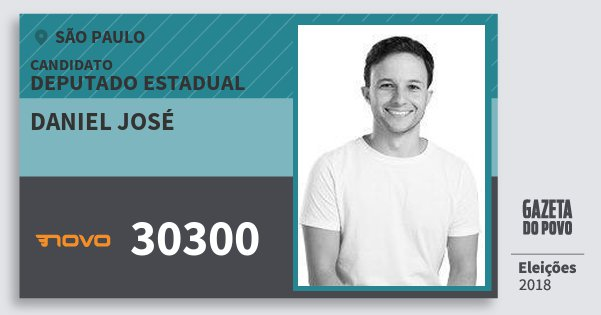 Santinho Daniel José 30300 (NOVO) Deputado Estadual | São Paulo | Eleições 2018