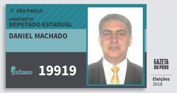 Santinho Daniel Machado 19919 (PODE) Deputado Estadual | São Paulo | Eleições 2018