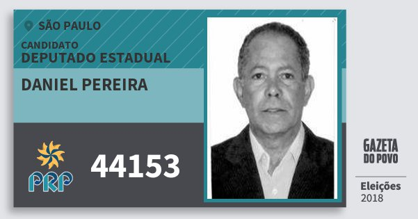 Santinho Daniel Pereira 44153 (PRP) Deputado Estadual | São Paulo | Eleições 2018