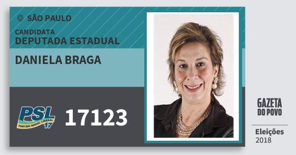 Santinho Daniela Braga 17123 (PSL) Deputada Estadual | São Paulo | Eleições 2018