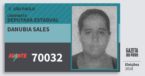 Santinho Danubia Sales 70032 (AVANTE) Deputada Estadual | São Paulo | Eleições 2018
