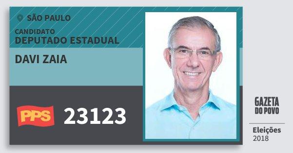 Santinho Davi Zaia 23123 (PPS) Deputado Estadual | São Paulo | Eleições 2018