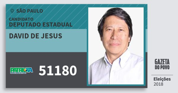 Santinho David de Jesus 51180 (PATRI) Deputado Estadual | São Paulo | Eleições 2018