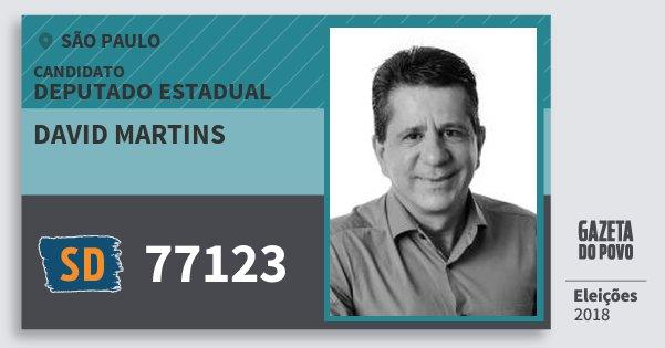 Santinho David Martins 77123 (SOLIDARIEDADE) Deputado Estadual | São Paulo | Eleições 2018