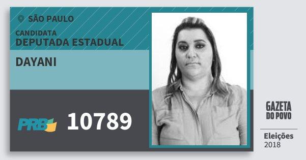 Santinho Dayani 10789 (PRB) Deputada Estadual | São Paulo | Eleições 2018