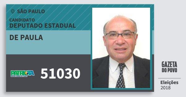 Santinho de Paula 51030 (PATRI) Deputado Estadual | São Paulo | Eleições 2018