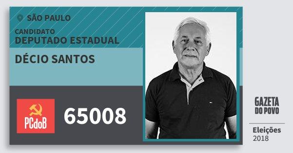 Santinho Décio Santos 65008 (PC do B) Deputado Estadual | São Paulo | Eleições 2018