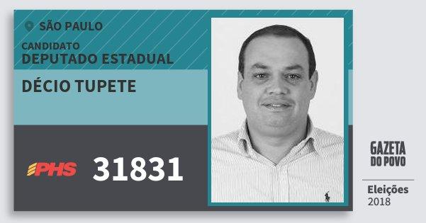 Santinho Décio Tupete 31831 (PHS) Deputado Estadual | São Paulo | Eleições 2018