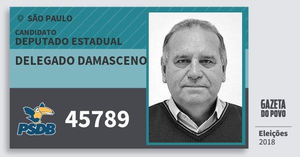 Santinho Delegado Damasceno 45789 (PSDB) Deputado Estadual | São Paulo | Eleições 2018