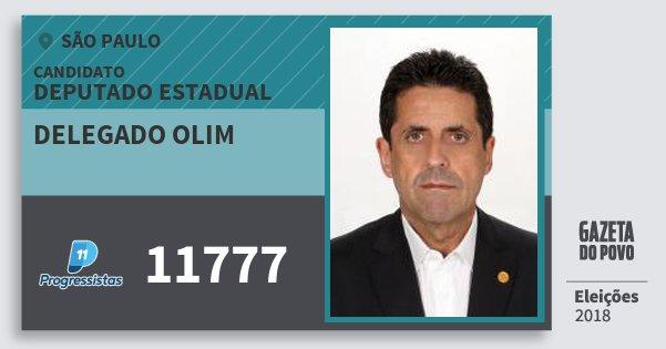 Santinho Delegado Olim 11777 (PP) Deputado Estadual | São Paulo | Eleições 2018