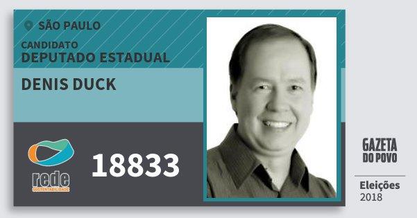 Santinho Denis Duck 18833 (REDE) Deputado Estadual | São Paulo | Eleições 2018
