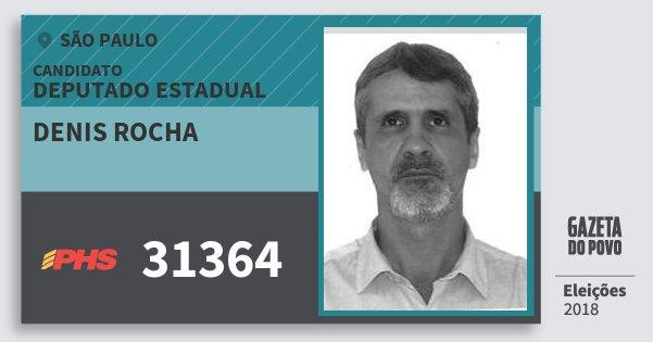 Santinho Denis Rocha 31364 (PHS) Deputado Estadual | São Paulo | Eleições 2018