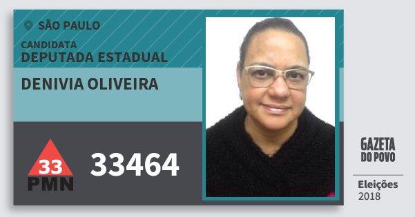 Santinho Denivia Oliveira 33464 (PMN) Deputada Estadual | São Paulo | Eleições 2018