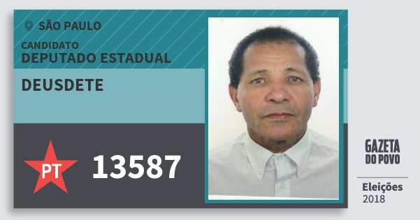 Santinho Deusdete 13587 (PT) Deputado Estadual | São Paulo | Eleições 2018