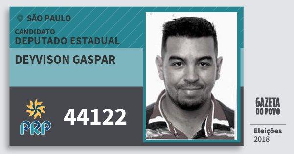 Santinho Deyvison Gaspar 44122 (PRP) Deputado Estadual | São Paulo | Eleições 2018