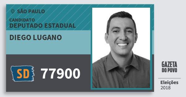 Santinho Diego Lugano 77900 (SOLIDARIEDADE) Deputado Estadual | São Paulo | Eleições 2018