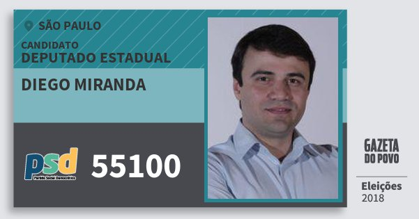 Santinho Diego Miranda 55100 (PSD) Deputado Estadual | São Paulo | Eleições 2018