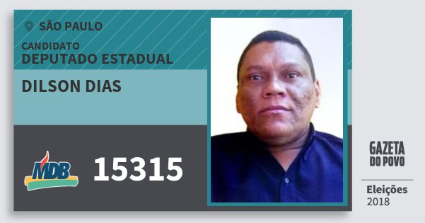 Santinho Dilson Dias 15315 (MDB) Deputado Estadual | São Paulo | Eleições 2018