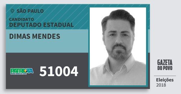 Santinho Dimas Mendes 51004 (PATRI) Deputado Estadual | São Paulo | Eleições 2018