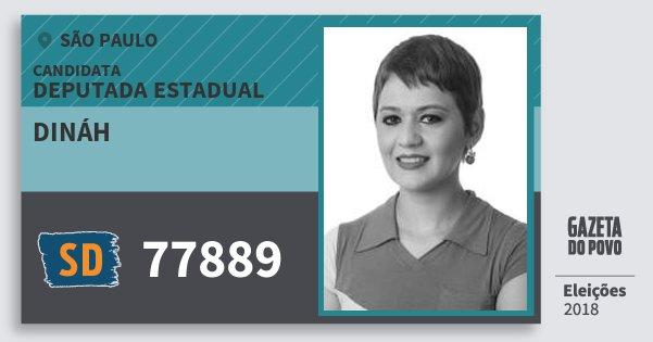 Santinho Dináh 77889 (SOLIDARIEDADE) Deputada Estadual | São Paulo | Eleições 2018